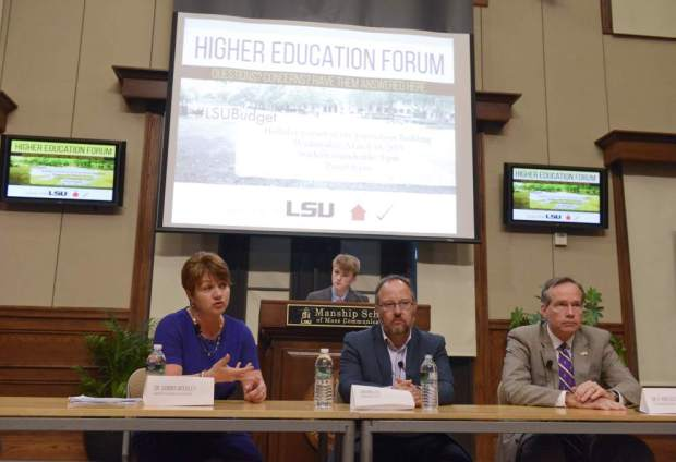 Panelists discuss the potential budget cuts to higher education (photo via The New Orleans Advocate).